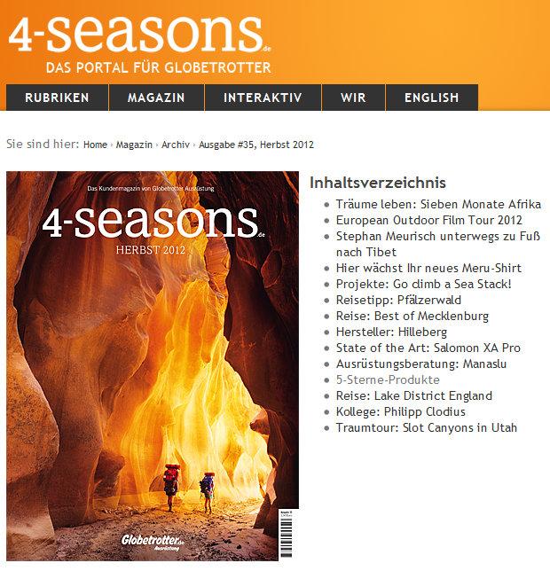 4-Seasons.de - Das Portal für Globetrotter - Ausgabe #35, Herbst 2012  4-Seasons.de - Das Portal für Globetrotter